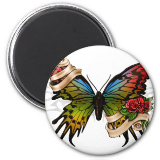Mariposa bonita imán redondo 5 cm