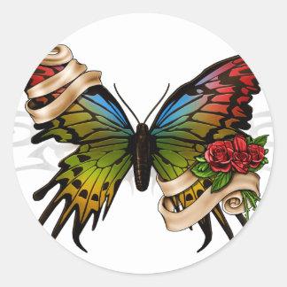 Mariposa bonita etiqueta redonda