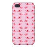 Mariposa bonita Pern en rosa y rojo iPhone 4 Cárcasas