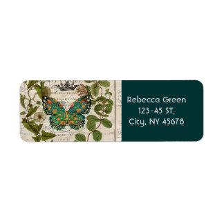 mariposa botánica del trullo del arte de París del Etiqueta De Remitente
