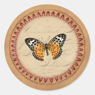 Mariposa botánica del vintage redonda pegatina redonda