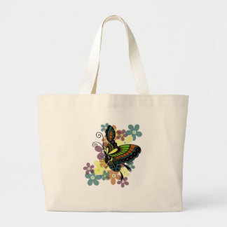 Mariposa brillante bolsa tela grande