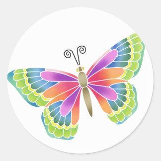 Mariposa brillante etiqueta redonda
