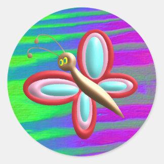 Mariposa brillante pegatina redonda