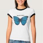 Mariposa, camiseta azul de la mariposa polera