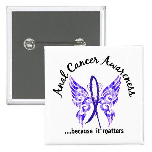 Mariposa cáncer anal/rectal de 6,1 del tatuaje del pin