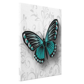 Mariposa caprichosa del trullo en floral gris lona envuelta para galerías