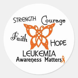 Mariposa céltica 3 de la leucemia pegatina redonda