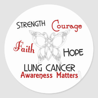 Mariposa céltica 3 del cáncer de pulmón pegatina redonda