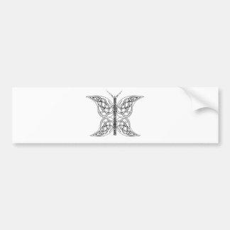 Mariposa céltica blanco y negro etiqueta de parachoque