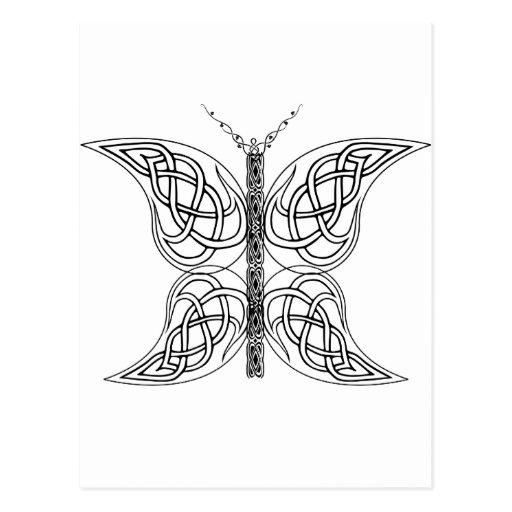 Mariposa céltica blanco y negro postales