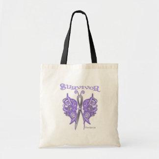Mariposa céltica del superviviente - cáncer bolsa lienzo