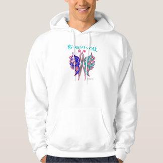 Mariposa céltica del superviviente - cáncer de suéter con capucha