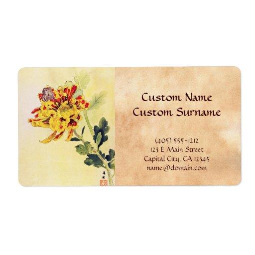 Mariposa clásica del crisantemo del ukiyo-e del vi etiquetas de envío