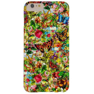 Mariposa colorida del jardín de flores del vintage funda para iPhone 6 plus barely there