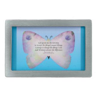 Mariposa colorida del rezo de la serenidad en azul hebilla de cinturón rectangular