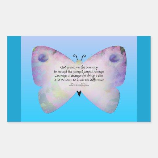 Mariposa colorida del rezo de la serenidad en azul pegatina rectangular