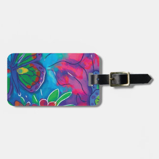 Mariposa colorida etiquetas maletas