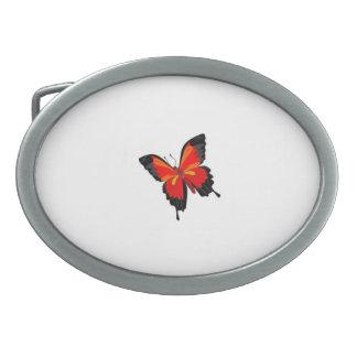 mariposa colorida hebilla de cinturon oval