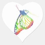 Mariposa colorida pegatina corazón