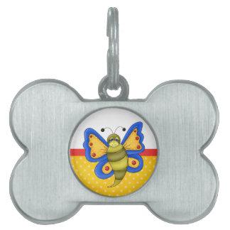 Mariposa colorida retra placa mascota