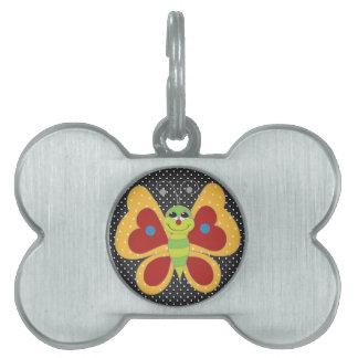 Mariposa colorida retra placas mascota