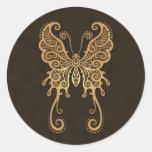 Mariposa compleja de Brown Pegatina Redonda
