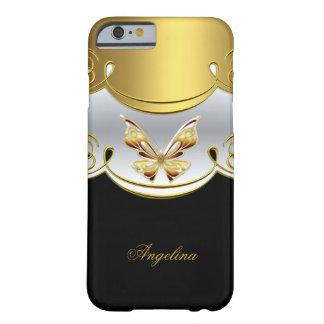 Mariposa con clase elegante del blanco del negro funda para iPhone 6 barely there