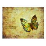 Mariposa con el poema postal