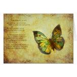 Mariposa con el poema tarjeta