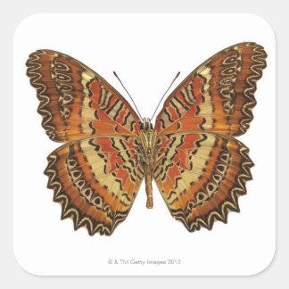 Mariposa con la extensión de las alas pegatina cuadrada
