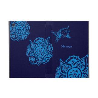 Mariposa con la flor (alheña) (azul) iPad mini carcasas