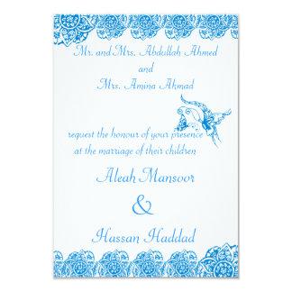 """Mariposa con la flor (alheña) (azul) invitación 3.5"""" x 5"""""""