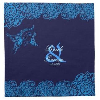 Mariposa con la flor (alheña) (azul) servilletas