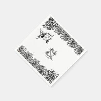 Mariposa con la flor (alheña) (negro) servilletas desechables