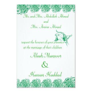 """Mariposa con la flor (alheña) (verde) invitación 3.5"""" x 5"""""""