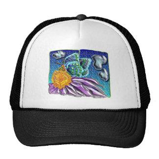 mariposa con la flor púrpura 1 gorras de camionero