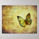 Mariposa con la impresión de la lona del poema poster