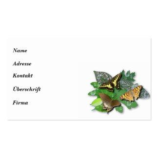 Mariposa con pequeña estrella, gota de lluvia, hoj plantilla de tarjeta personal