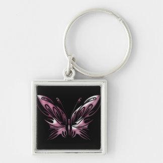 Mariposa conciencia día 6 de junio llavero cuadrado plateado