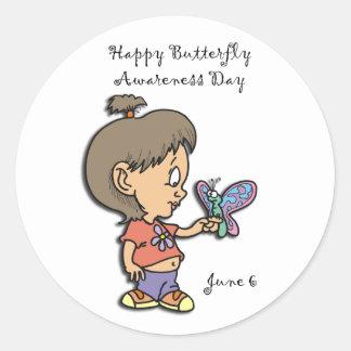 Mariposa conciencia día 6 de junio pegatina redonda