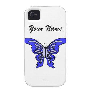 Mariposa conocida y azul del caso adaptable del iP Vibe iPhone 4 Carcasas