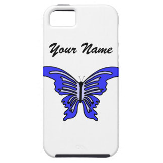 Mariposa conocida y azul del caso adaptable del iP iPhone 5 Fundas