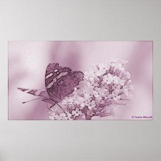 Mariposa contemporánea del © P Wherrell en buddlei Póster