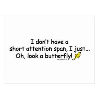 Mariposa corta de la capacidad de concentración postales