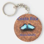 Mariposa Costa Rica de Morpho Llavero Redondo Tipo Pin