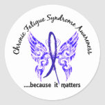 Mariposa crónica del síndrome del cansancio del pegatina redonda