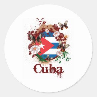 Mariposa Cuba Pegatina Redonda