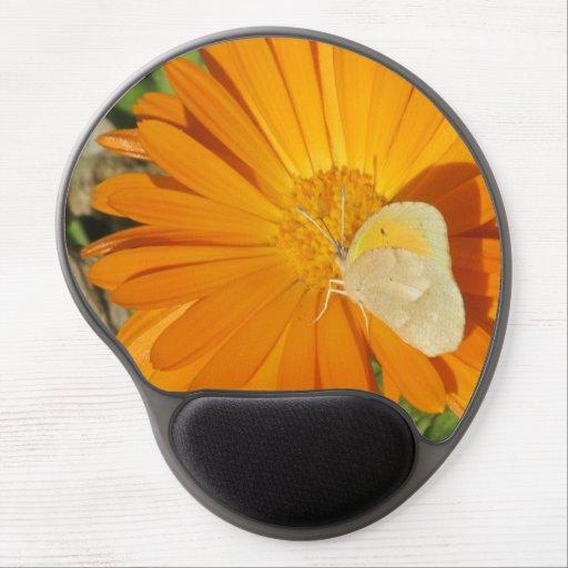 Mariposa de azufre delicada en la flor de oro alfombrilla de ratón con gel