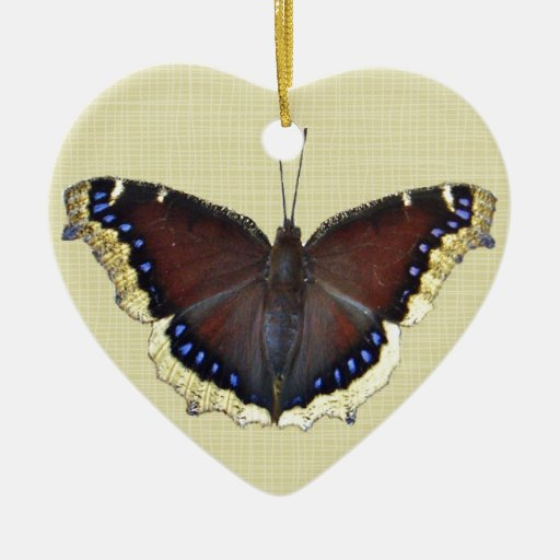 Mariposa de capa de luto - antiopa del Nymphalis Adorno Navideño De Cerámica En Forma De Corazón